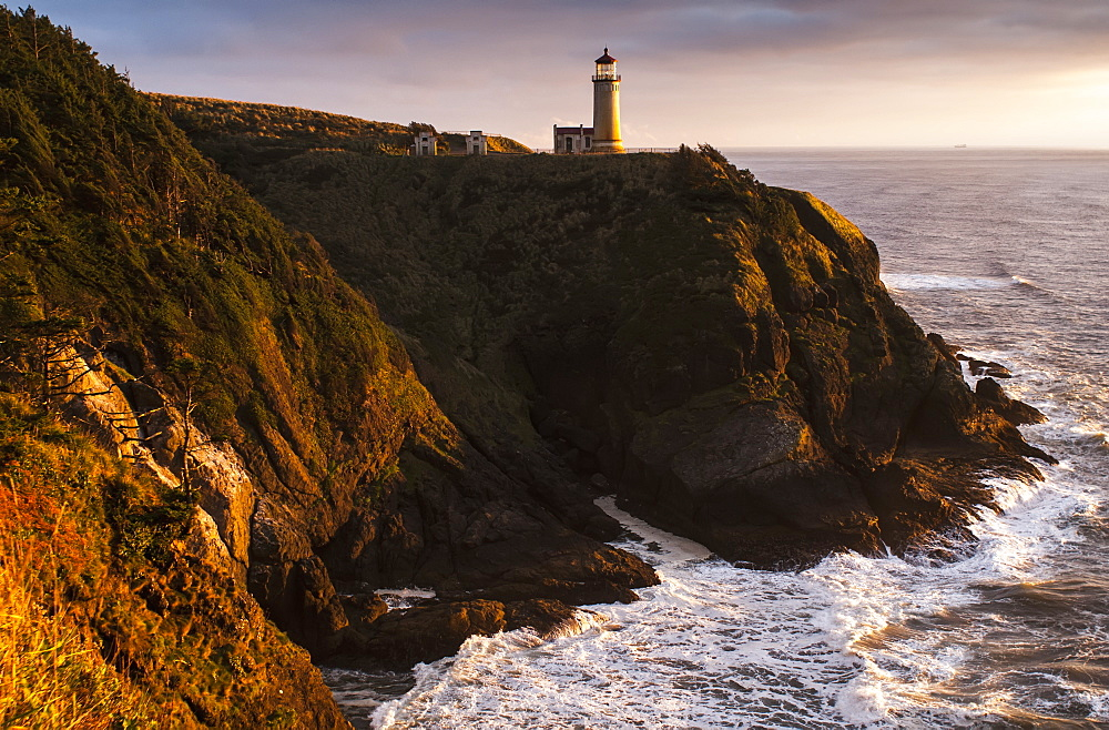 Evening Light Warms North Head Lighthouse, Ilwaco, Washington, United States Of America