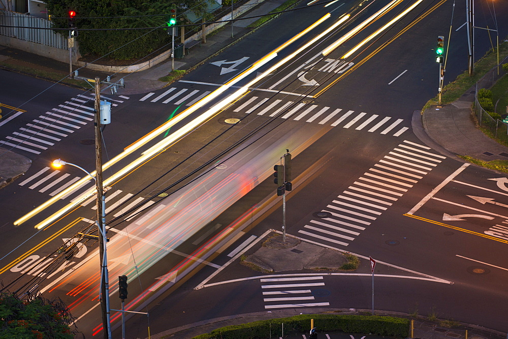 High Angle View Of An Intersection With Painted Arrows And Crosswalks, Honolulu, Oahu, Hawaii, United States Of America