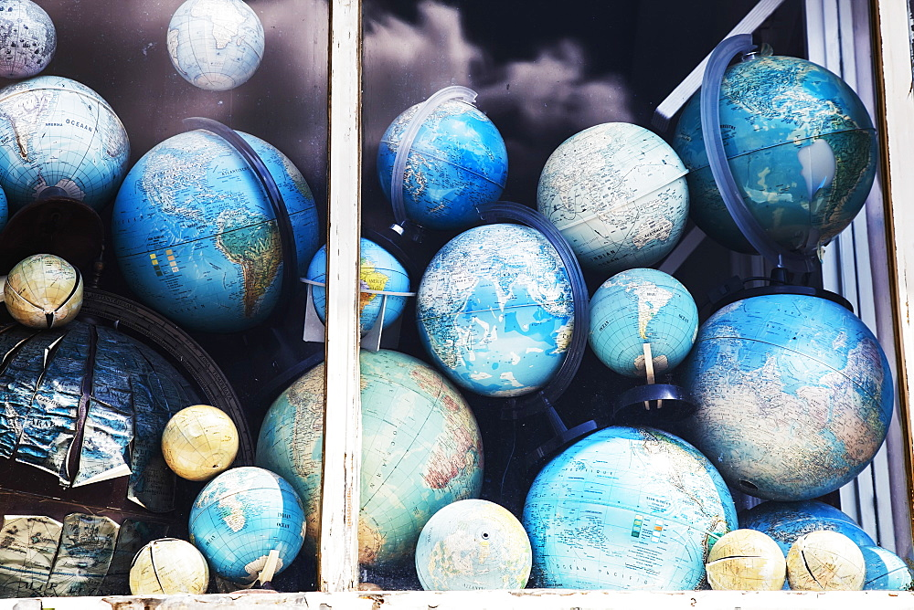 Globes In Window Display, Amsterdam, Netherlands