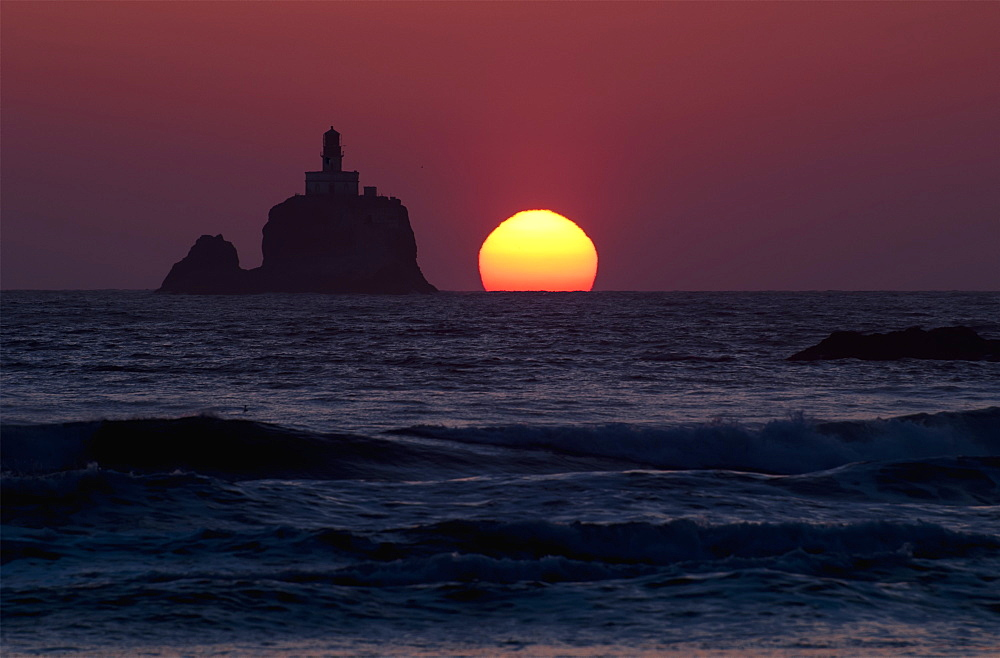 The Sunset At Tillamook Rock Lighthouse, Cannon Beach, Oregon, United States Of America