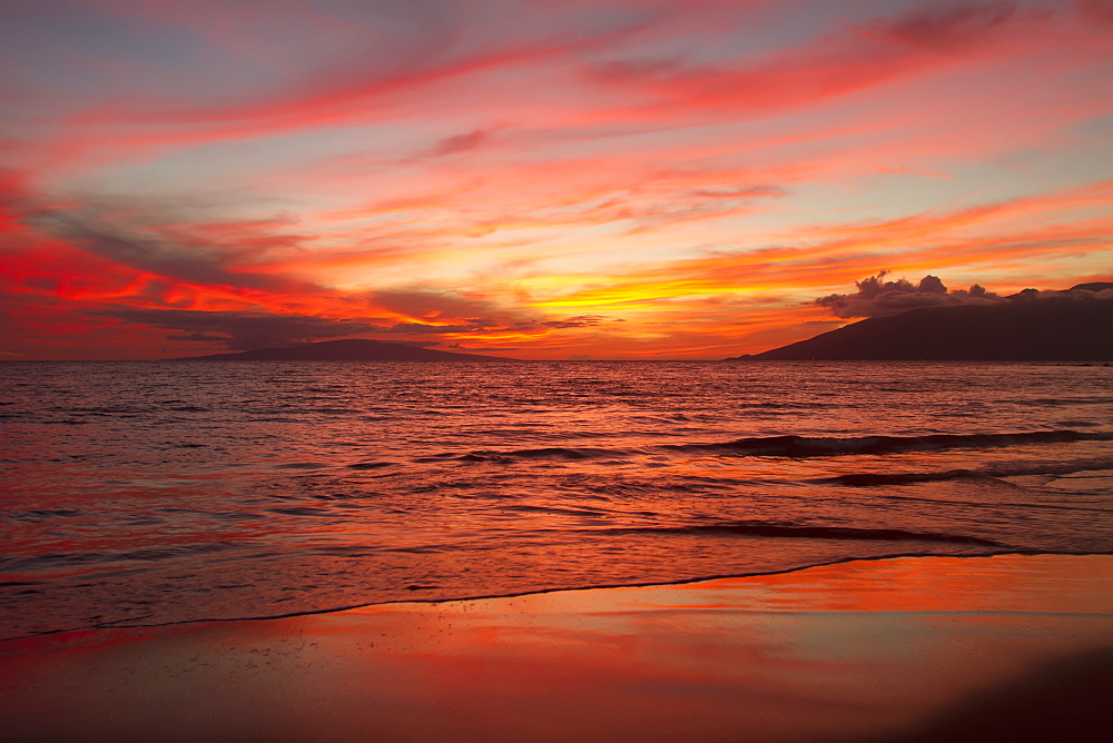 Incredibly Brilliant Wailea Sunset As Viewed From Keawekapu Beach, Maui, Hawaii, United States Of America