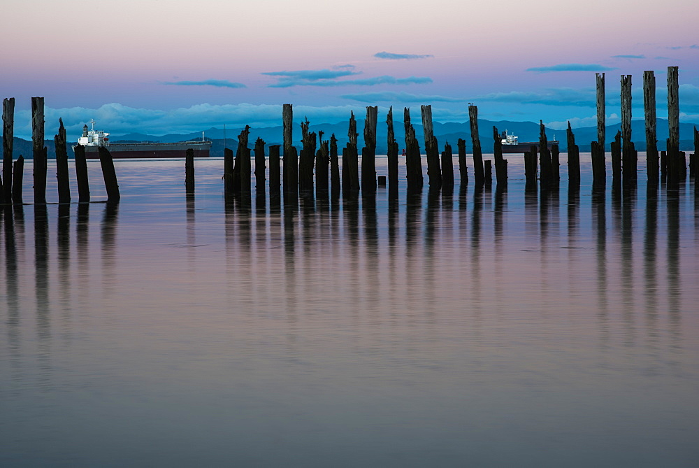 Dusk Settles Over The Columbia River, Astoria, Oregon, United States Of America