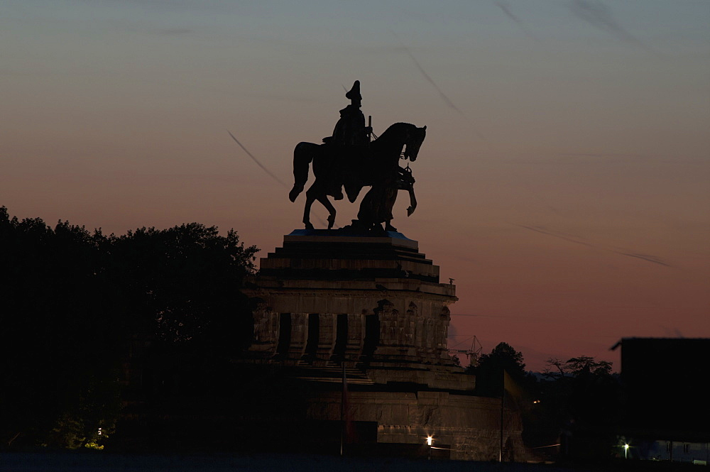 Silhouette Of An Equestrian Statue At Dusk, Koblenze, Germany