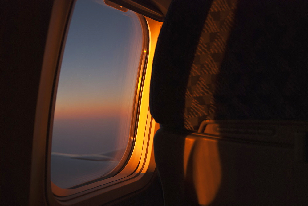 Inside An Airplane With A View Out The Window At Sunset, Mexico