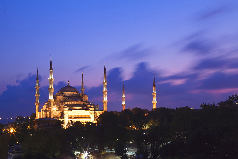 Blue Mosque At Dusk, Istanbul, Turkey