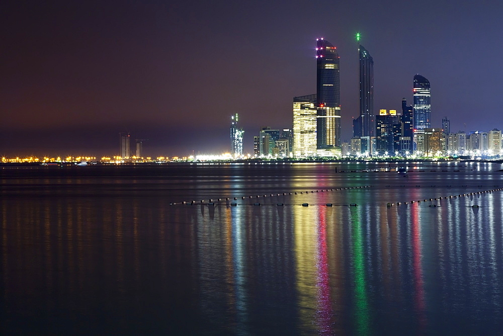 Abi Dhabi Skyline At Night, Abu Dhabi, United Arab Emirates
