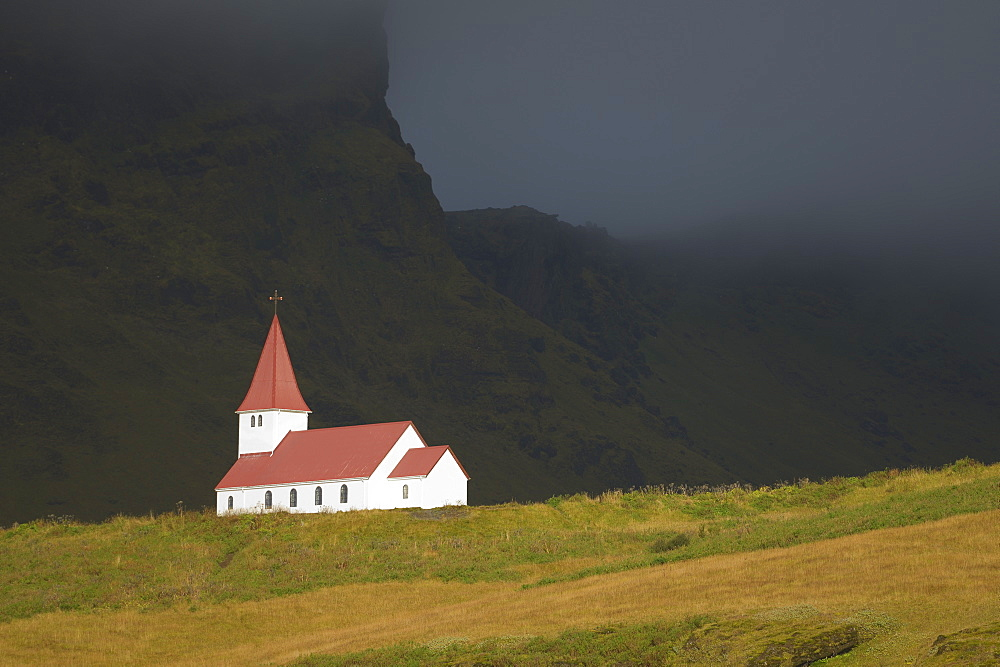 Isolated Church On A Hill, Vik, Vestur-Skaftafellssysla, Iceland