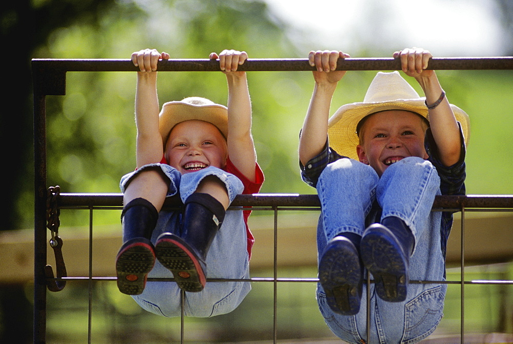 Agriculture - Young farm girl and boy wearing cowboy hats and rubber boots swing on a metal gate, hanging by their hands and legs and laughing / Northwest Missouri, USA.