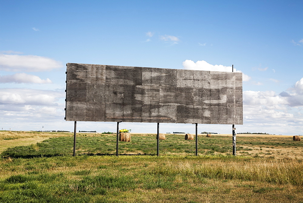An Empty Billboard Beside A Farm Field, Alberta, Canada
