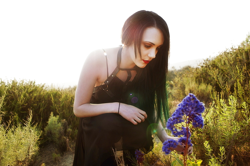 A Young Woman Touching A Purple Flower With The Sun Behind Her, California, United States Of America - 1116-42756