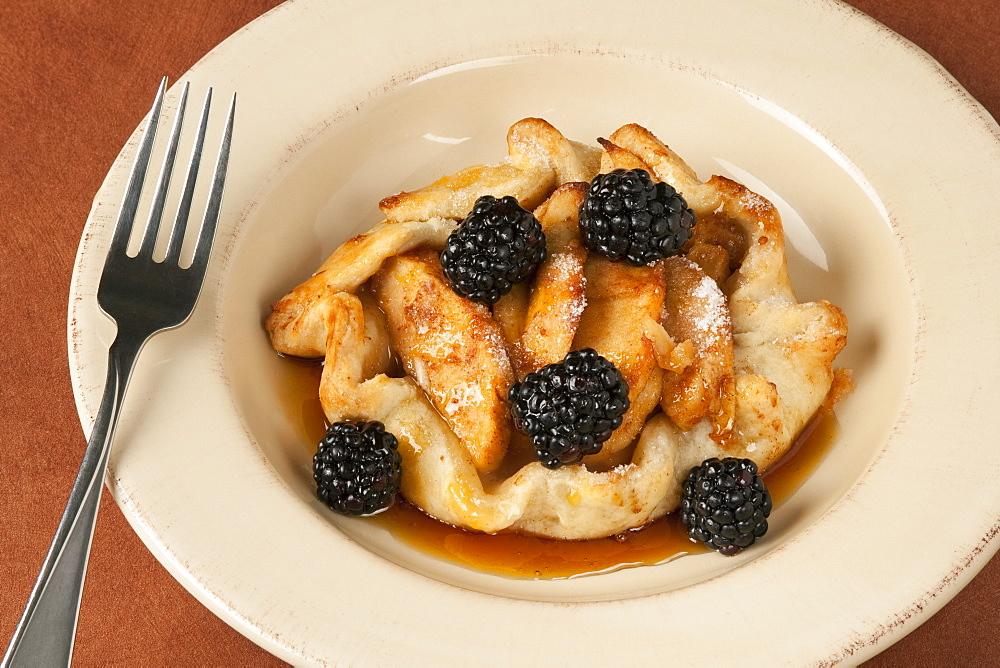 Food - Apple Tart with fresh blackberries and cinnamon brown sugar glaze.