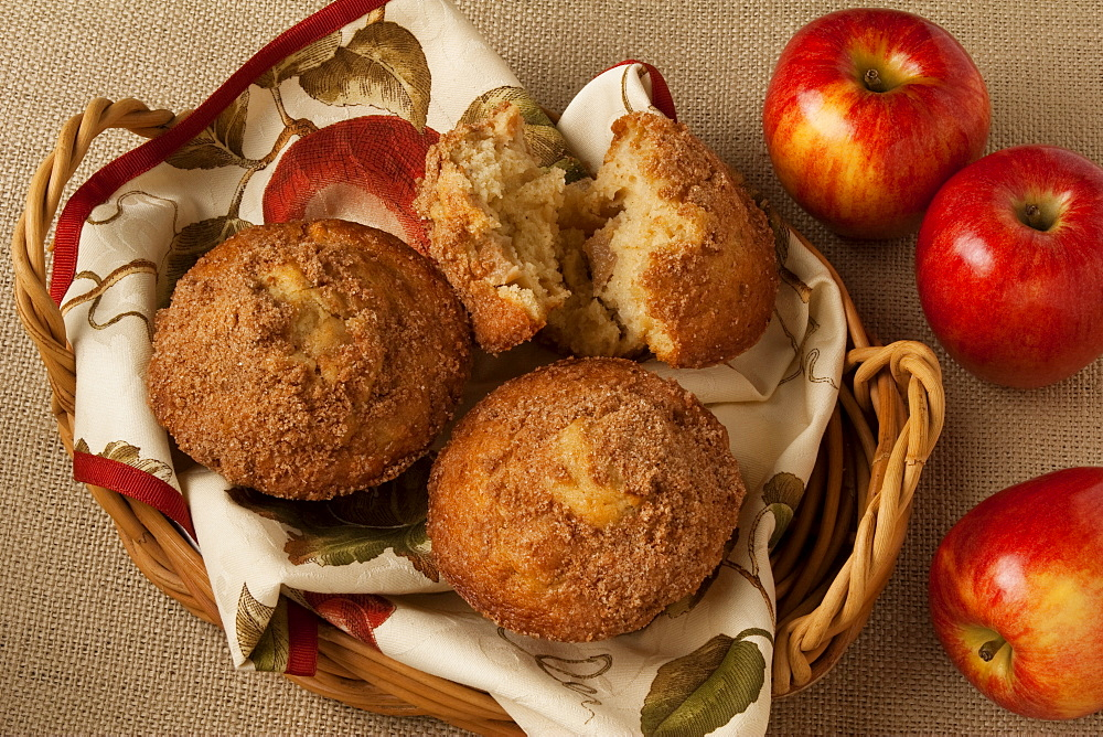 Food - Apple Cinnamon Muffins in a basket with Royal Gala apples.