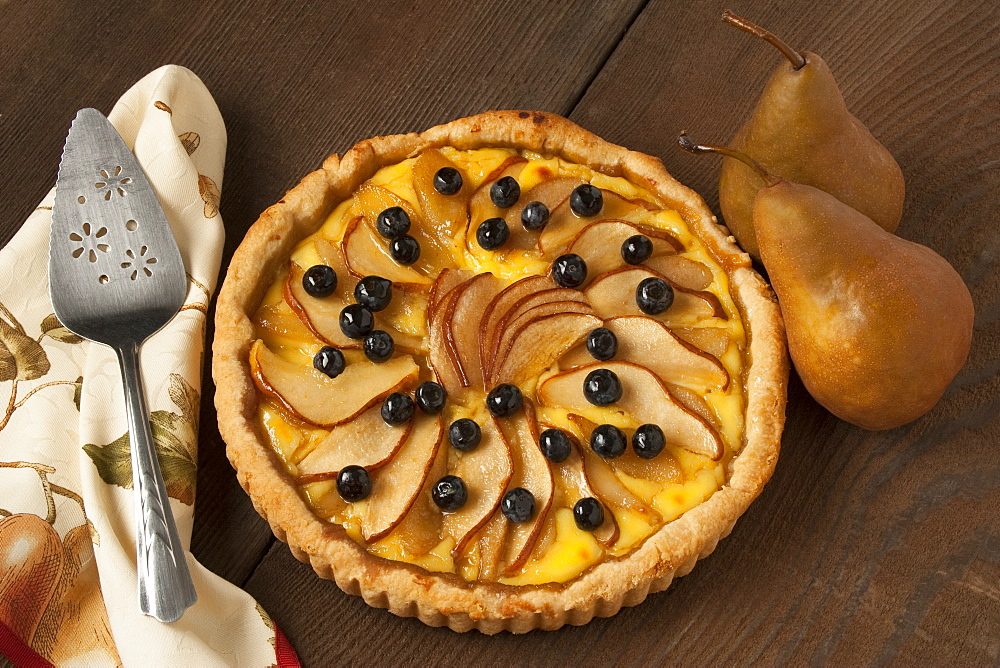 Food - Pear Custard Pie topped with Bosc pear slices and blueberries.