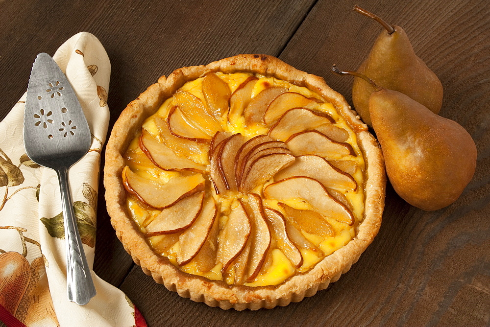 Food - Pear Custard Pie topped with Bosc pear slices.