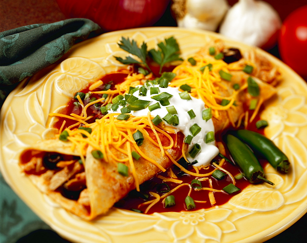 Food - Chicken and Cheese Enchilada garnished with chopped green onions (scallions), enchilada sauce and jalape
