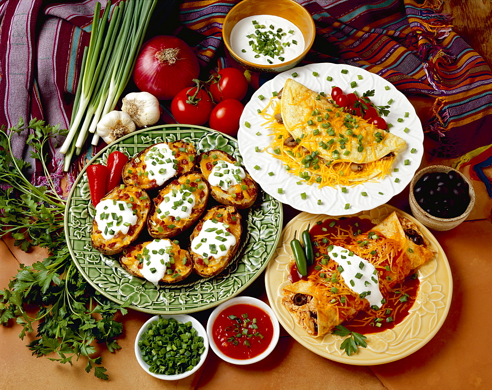Food - Prepared dishes garnished with chopped green onions (scallions), including Chicken and Cheese Enchilada, Cheese and Mushroom Omelet, and Twice-Baked Potatoes with Bacon.