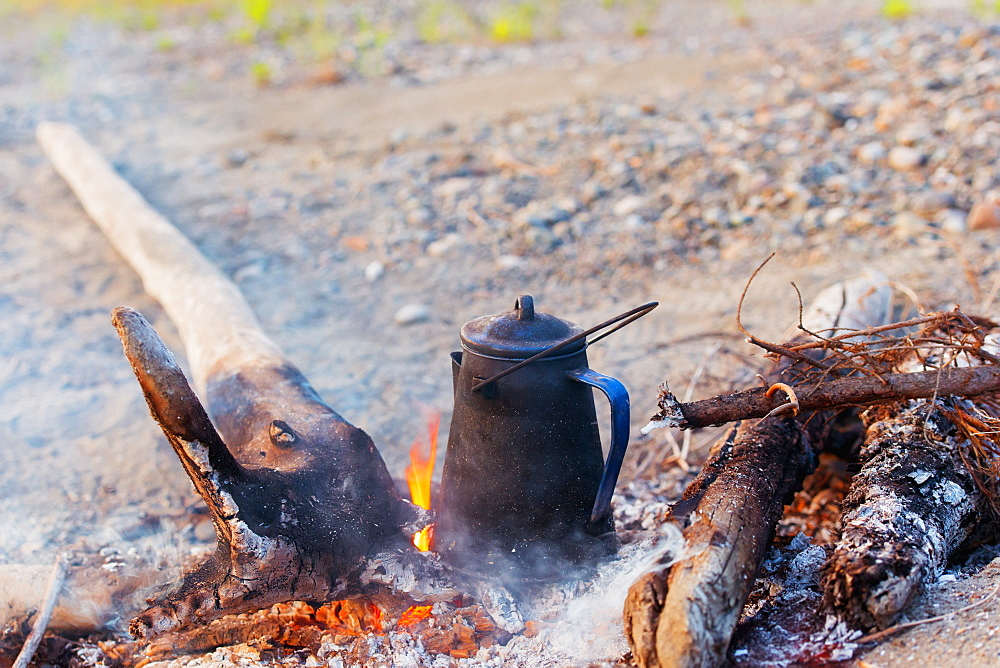 Coffee Pot In The Campfire, Dawson, Yukon, Canada