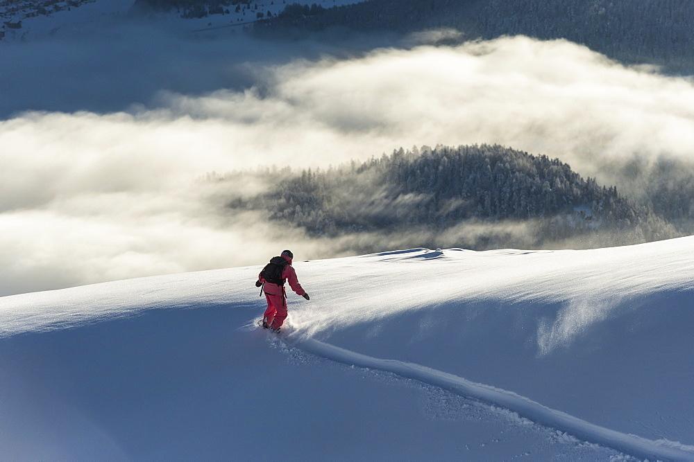 Snowboarding Above The Clouds, St. Moritz, Graubunden, Switzerland