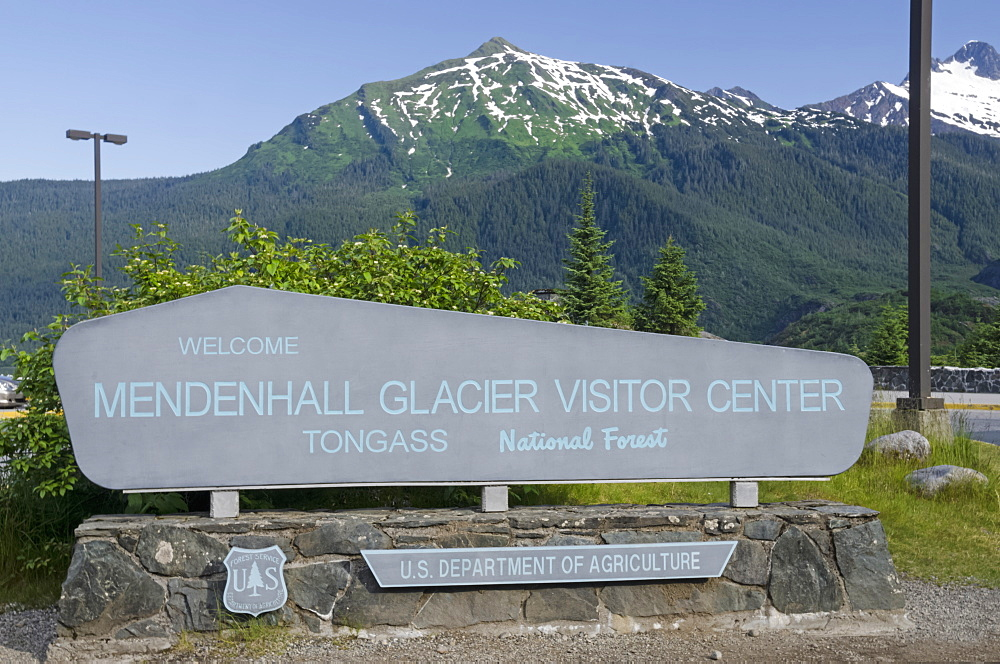 Mendenhall Glacier Visitor Centre Sign At Mendenhall Glacier, Tongass National Forest, Near Juneau, Alaska, United States Of America