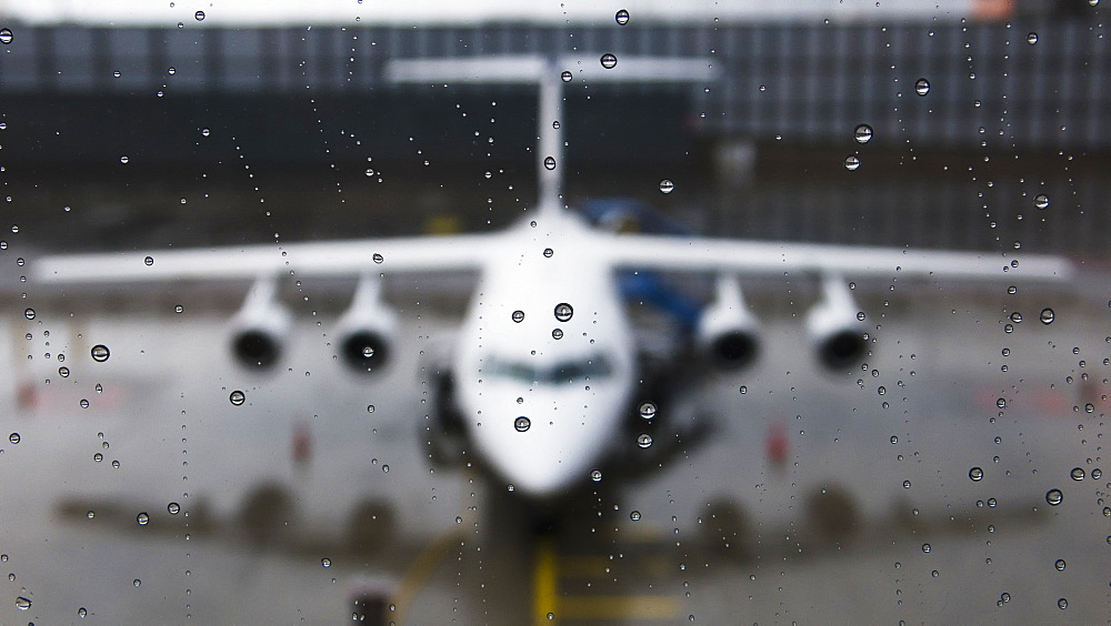 View Of The Front Of An Aircraft Through A Wet Window, Munich, Germany