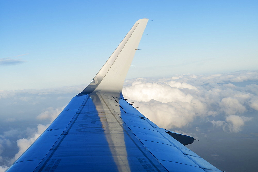 Wing Of An Airplane In A Blue Sky With Cloud, Patagonia, Chile