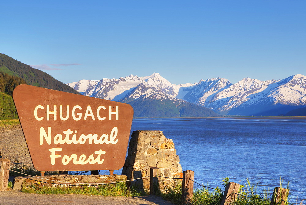 Chugach National Forest Sign Along Turnagain Arm And The Seward Highway, Southcentral Alaska, Alaska, United States Of America