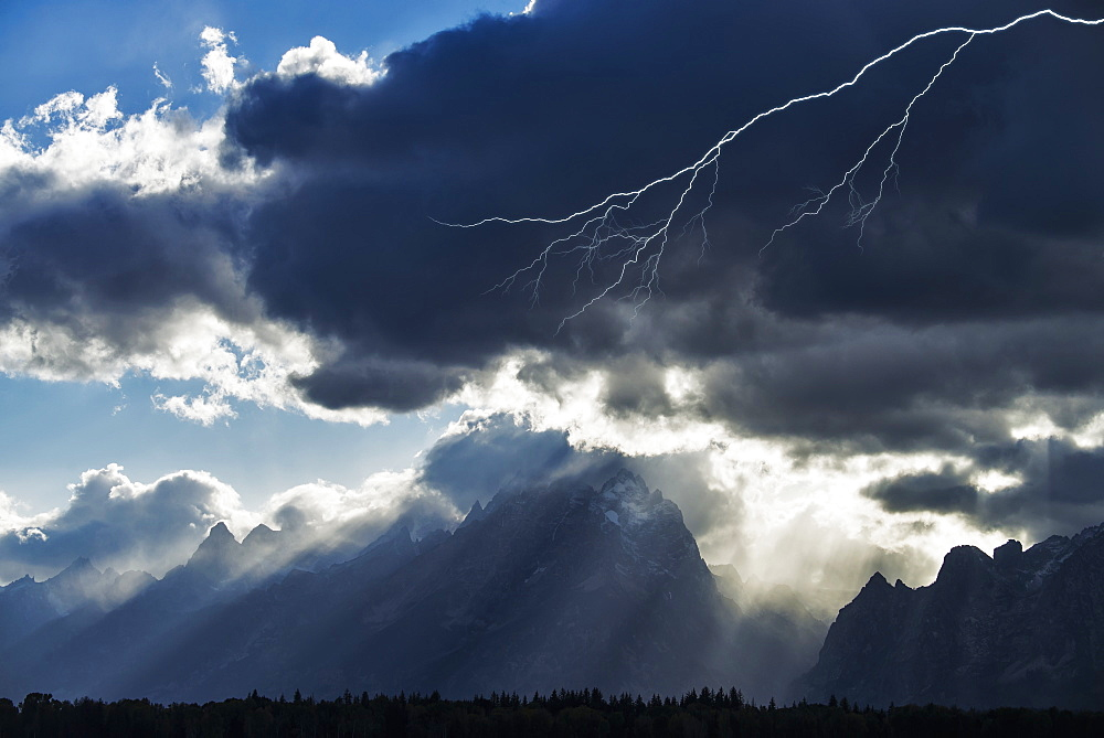 Storm Clouds And Lightening, Grand Teton National Park, Wyoming, United States Of America