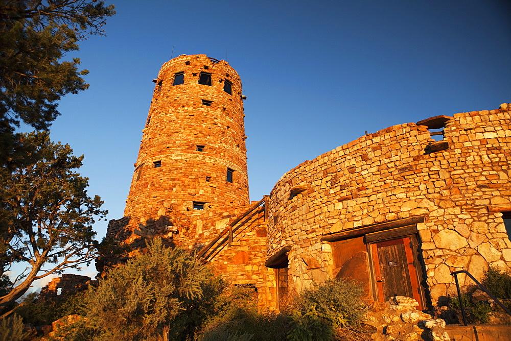 Sunrise Over Rebuilt Stone Historical Tower, Grand Canyon National Park, Arizona, United States Of America