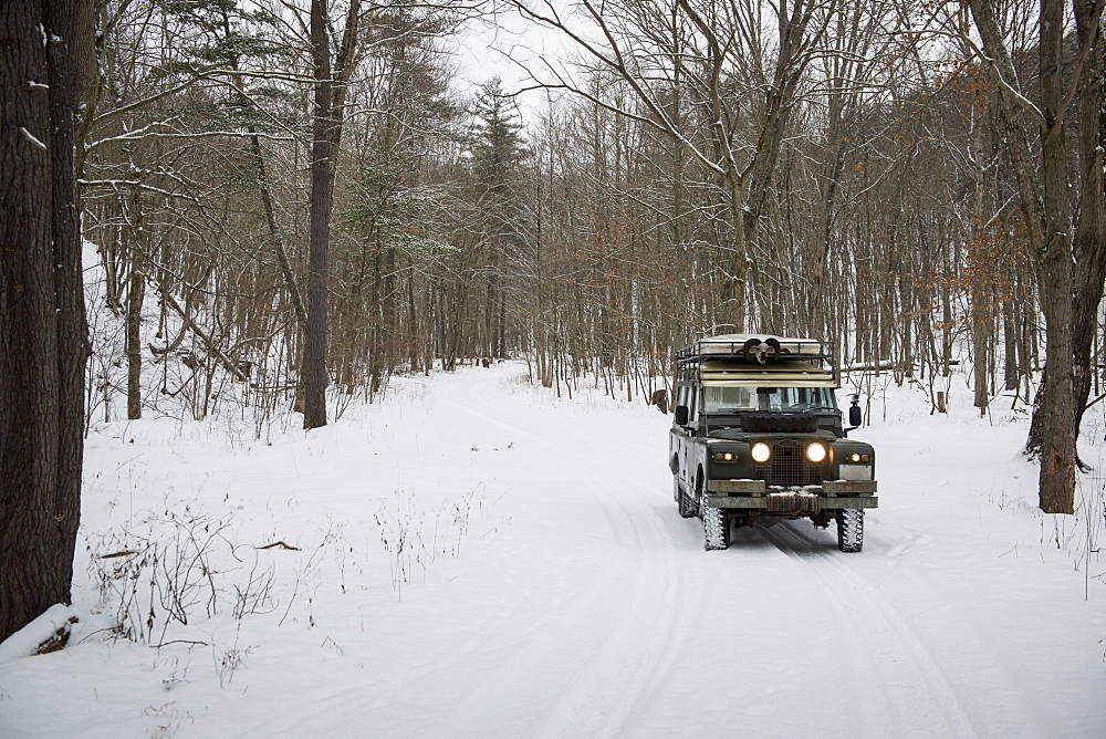 Land Rover In Green Ridge State Forest In Winter, Orleans, Maryland, United States Of America