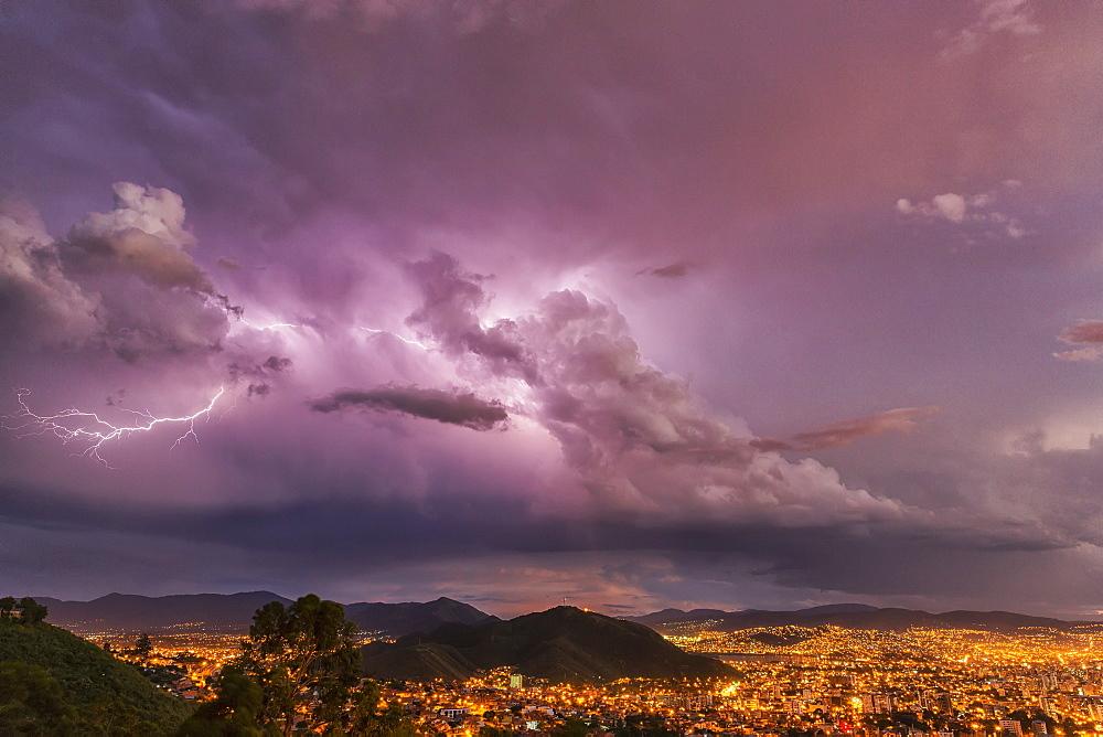 Lightning In The Night Skies Above The City Of Cochabamba, Cochabamba, Bolivia