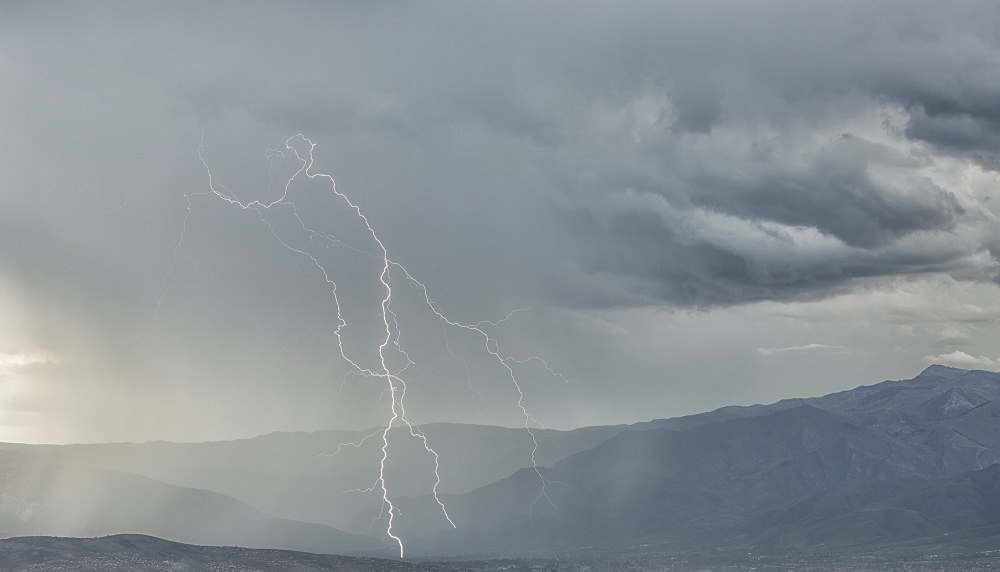 Lightning Strike In The Mountains Surrounding Cochabamba, Cochabamba, Bolivia