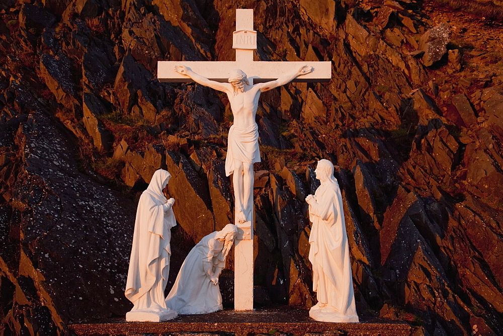 Statues Of Jesus Christ On The Cross And Followers At The Foot Of The Cross, County Kerry, Ireland