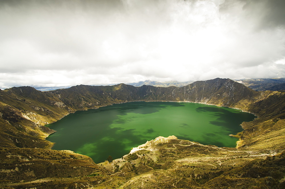 View Of A Lagoon With Green Water, Quilotoa, Cotopaxi, Ecuador