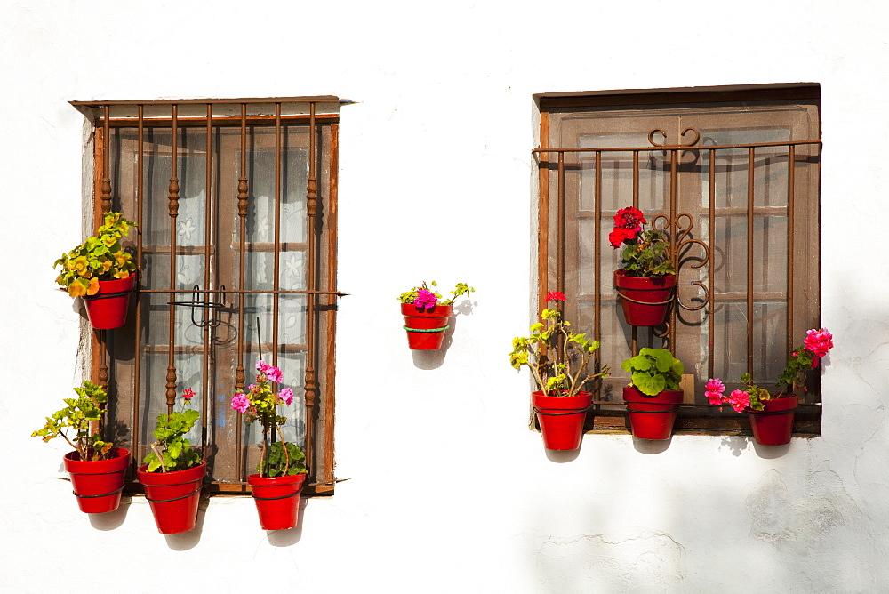Small Flower Pots Decorate Windows, Sancti Petri, Near Chiclana De La Frontera, Andalusia, Spain