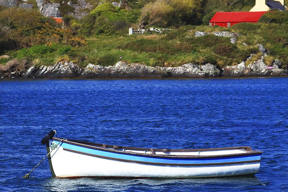 A Canoe Moored In A Harbour, Near Eyeries, County Cork, Ireland