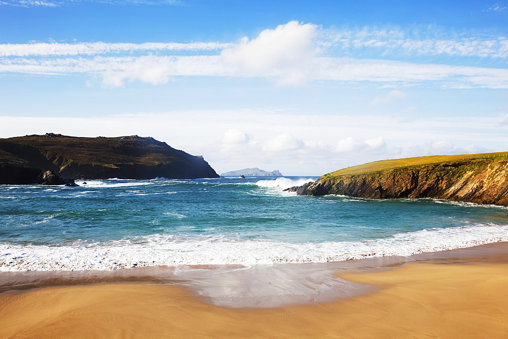 Clogher Beach With Blasket Islands, Dingle, County Kerry, Ireland