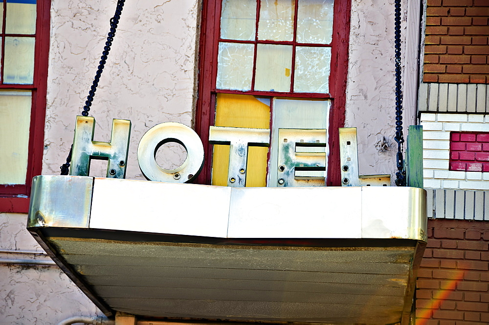Louisiana, New Orleans, Signage For A Run Down Hotel.