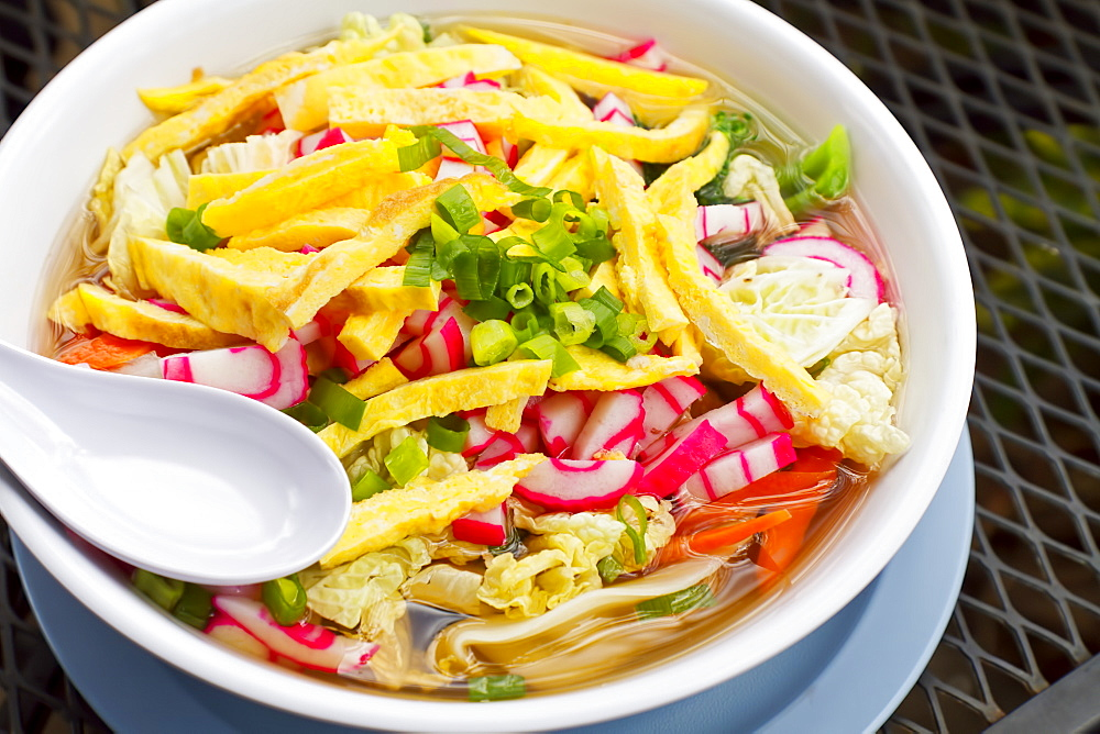 Hawaii, Maui, A Fresh And Colorful Bowl Of Local Saimin.