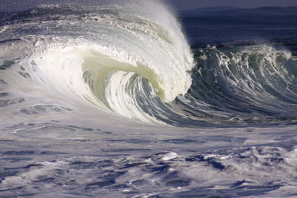 Hawaii, Oahu, Large Powerful, White Wave On Northshore.