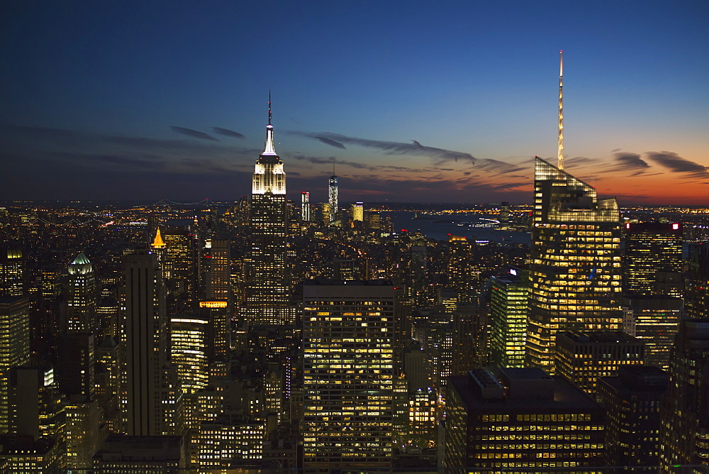 New York City Buildings Illuminated At Nighttime, New York City, New York, United States Of America