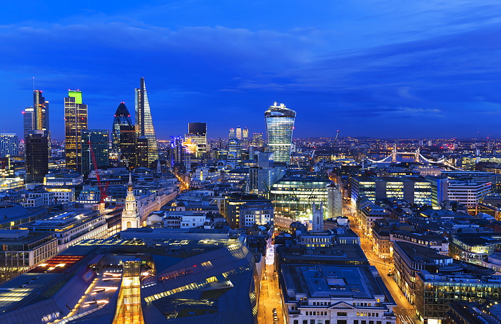 Cityscape Of London With Various Buildings In The Skyline At Dusk, London, England