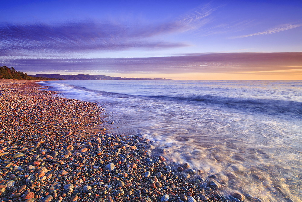 Pebble Beach On Lake Superior At Dusk, Agawa Bay, Lake Superior Provincial Park, Ontario, Canada