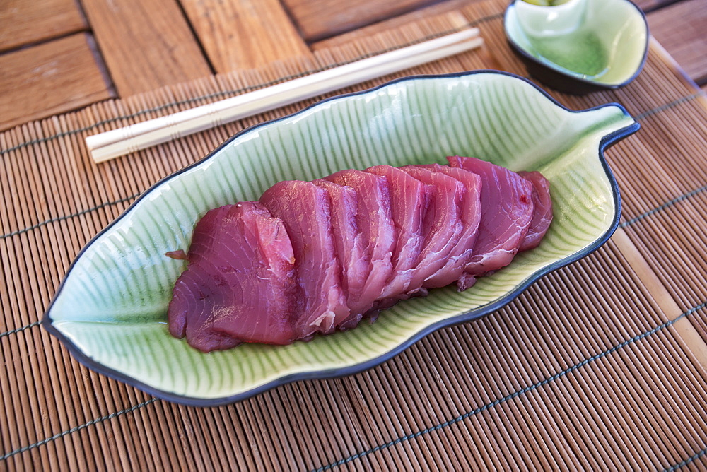 Raw Yellowfin Tuna Served In A Dish, Tahiti