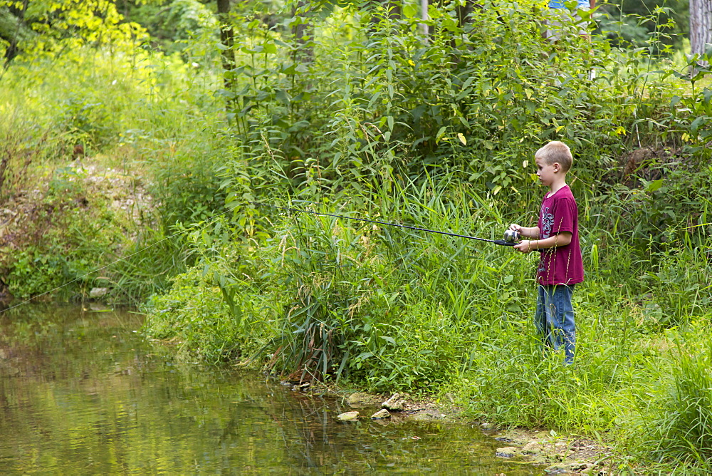 Boy Fishing In Bear Creek At Bixby State Preserve, Near Edgewood, Iowa, United States Of America