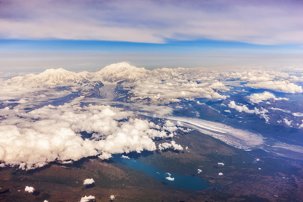 Aerial View Of Mount Mckinley From The West, Lakes And Glaciers, Low Altitude Clouds In The Distance, Denali National Park, Alaska, United States Of America