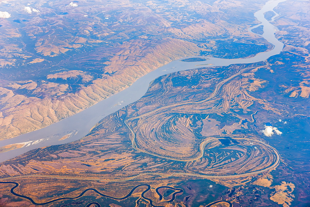 Aerial View Of The Yukon River And Surrounding Tundra, Alaska, United States Of America