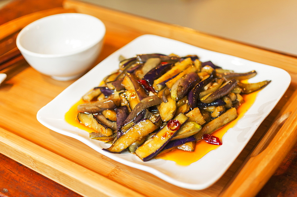 Chinese Braised Eggplants, Wuhan, Hubei Province, China