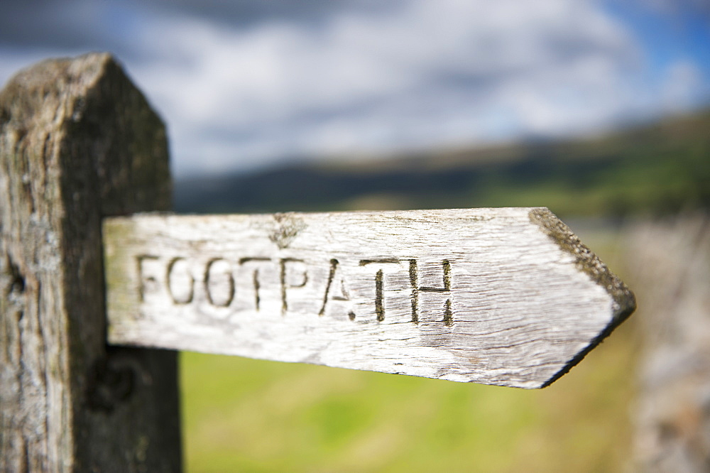Sign Post On Public Footpath Near Hawes, North Yorkshire, England