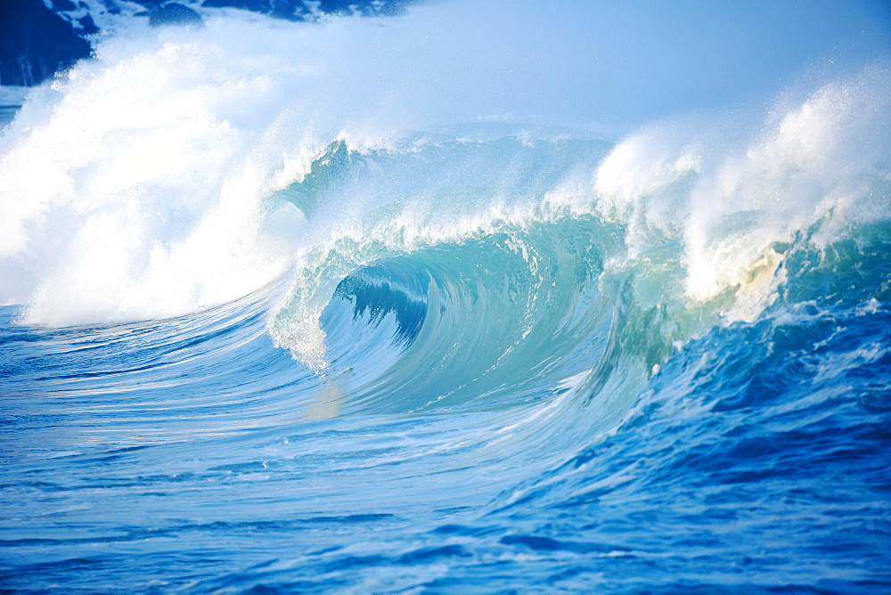 Waves Breaking At Waimea Bay On The North Shore Of Oahu, Oahu, Hawaii, United States Of America