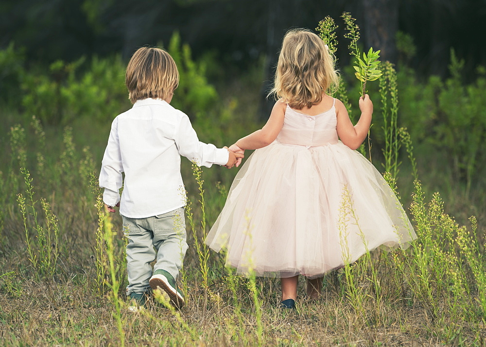 A Young Boy And Young Girl Holding Hands And Walking Through A Field, Tarifa, Cadiz, Andalusia, Spain